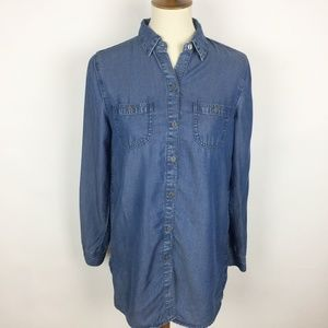 J.JILL Denim Lyocell Chambray Tunic Button Up Top